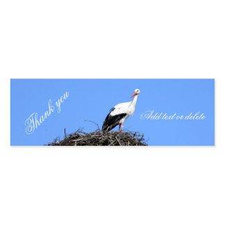 Stork on nest Thank you Double-Sided Mini Business Cards (Pack Of 20)