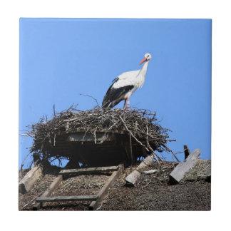 Stork on nest ceramic tile