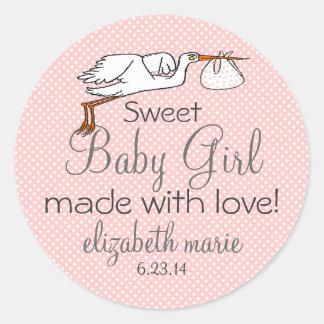 Stork Peach Baby Shower Favor Classic Round Sticker