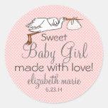 Stork-Peach Baby Shower Favor Sticker