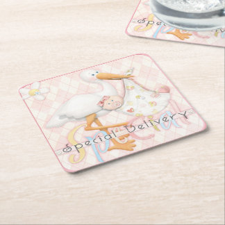 Stork Pink Girl Baby Shower Design Paper Coasters