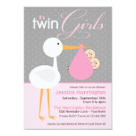 "Stork Pink Twin Bundle Baby Shower Invitations 5"" X 7"" Invitation Card"