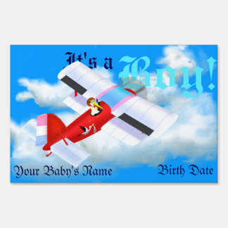 Stork Plane Yard Sign for New Baby Boy