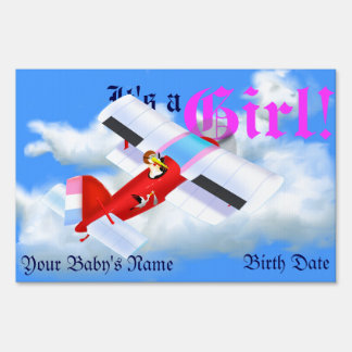 Stork Plane Yard Sign for New Baby Girl