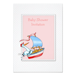 Stork Sailing Boat - Pink Baby Shower Invitation