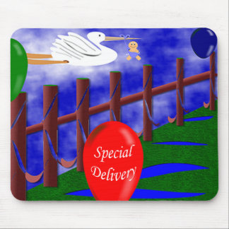 Stork Special Delivery Baby Announcement Mouse Pad