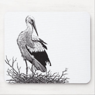 stork standing in nest pen & ink bird drawing mouse pad