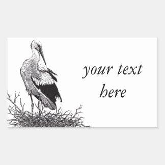stork standing in nest pen & ink bird drawing rectangular sticker