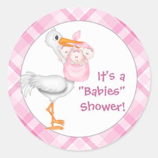 Stork & Triplet Girls Baby Shower Classic Round Sticker
