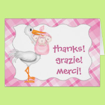 Stork & Triplet Girls Thank You Card