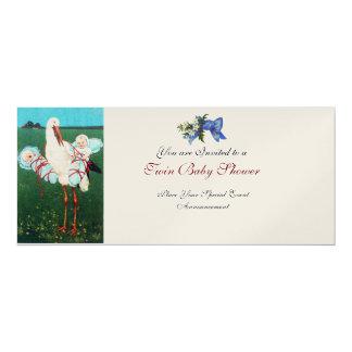 STORK TWIN BABY BOY SHOWER Champagne Metallic 4x9.25 Paper Invitation Card