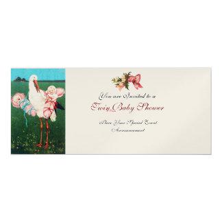 STORK TWIN BABY GIRL SHOWER Champagne Metallic 4x9.25 Paper Invitation Card