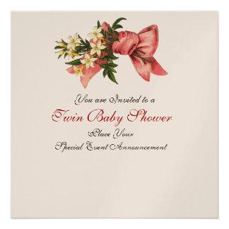 STORK TWIN BABY GIRL SHOWER , champagne metallic Invite