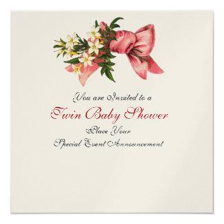 STORK TWIN BABY GIRL SHOWER , champagne metallic 5.25x5.25 Square Paper Invitation Card