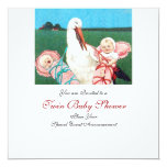 """STORK TWIN BABY GIRL SHOWER 5.25"""" SQUARE INVITATION CARD"""
