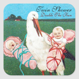 STORK TWIN BABY GIRL SHOWER SQUARE STICKER