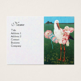 STORK TWIN BABY GIRL SHOWER , white pearl paper Business Card