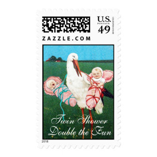 STORK TWIN BABY GIRLS SHOWER POSTAGE STAMPS