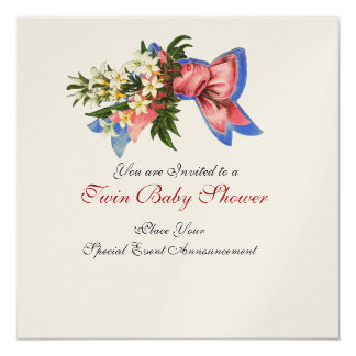 STORK TWIN BABY SHOWER , champagne metallic Card