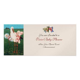 STORK TWIN BABY SHOWER , champagne metallic Custom Invites