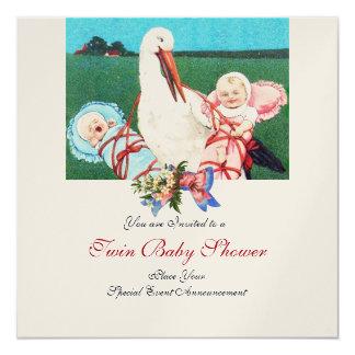 STORK TWIN BABY SHOWER , champagne metallic 5.25x5.25 Square Paper Invitation Card
