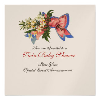 STORK TWIN BABY SHOWER , champagne metallic Personalized Invites