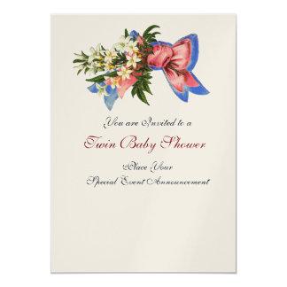 STORK TWIN BABY SHOWER , champagne metallic 5x7 Paper Invitation Card
