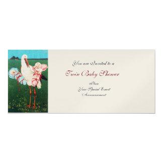 STORK TWIN BABY SHOWER , Gold Metallic Paper 4x9.25 Paper Invitation Card