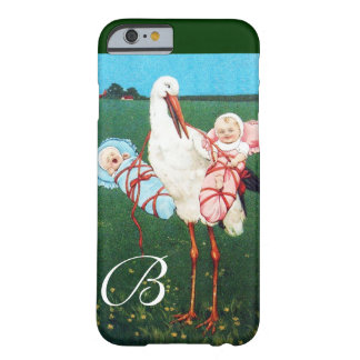 STORK TWIN BABY SHOWER MONOGRAM BARELY THERE iPhone 6 CASE