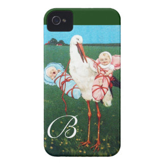 STORK TWIN BABY SHOWER MONOGRAM Case-Mate iPhone 4 CASES
