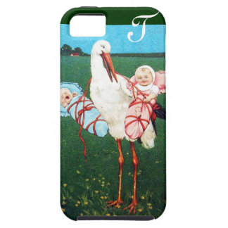 STORK TWIN BABY SHOWER MONOGRAM iPhone 5 COVERS