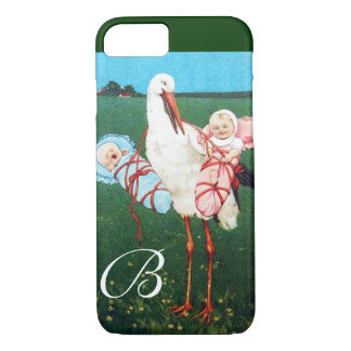 STORK TWIN BABY SHOWER MONOGRAM iPhone 8/7 CASE