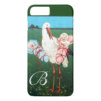 STORK TWIN BABY SHOWER MONOGRAM iPhone 8 PLUS/7 PLUS CASE