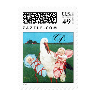STORK TWIN BABY SHOWER MONOGRAM,pink ,teal blue Postage Stamps