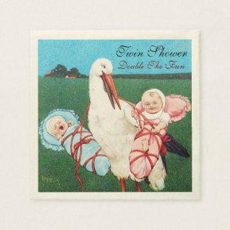 STORK TWIN BABY SHOWER PAPER NAPKINS