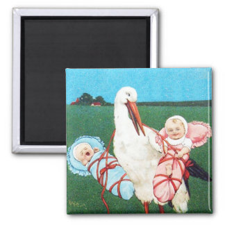 STORK TWIN BABY SHOWER, Pink ,Teal Blue 2 Inch Square Magnet