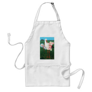 STORK TWIN BABY SHOWER, Pink ,Teal Blue Adult Apron