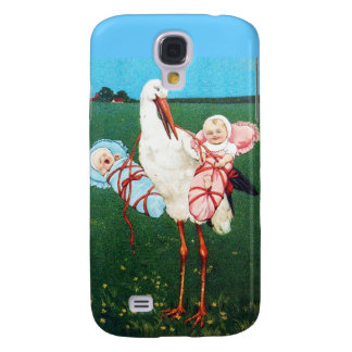 STORK TWIN BABY SHOWER, Pink ,Teal Blue Samsung Galaxy S4 Case