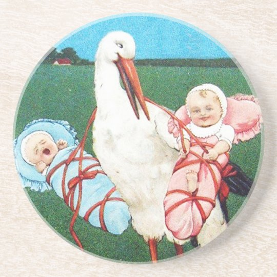 STORK TWIN BABY SHOWER, Pink ,Teal Blue Coaster