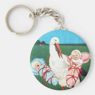 STORK TWIN BABY SHOWER, Pink ,Teal Blue Keychain