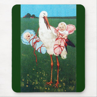 STORK TWIN BABY SHOWER, Pink ,Teal Blue Mouse Pad
