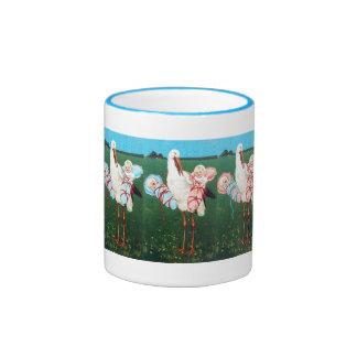 STORK TWIN BABY SHOWER, Pink ,Teal Blue Ringer Coffee Mug