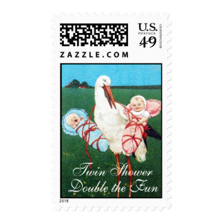 STORK TWIN BABY SHOWER, Pink ,Teal Blue Postage Stamps