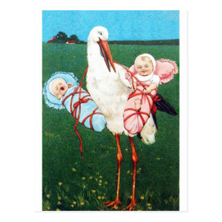 STORK TWIN BABY SHOWER, Pink ,Teal Blue Postcard