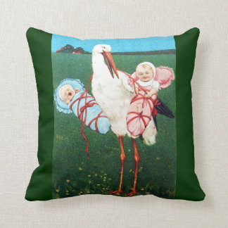 STORK TWIN BABY SHOWER, Pink ,Teal Blue Throw Pillow