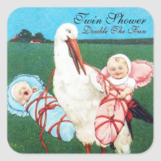 STORK TWIN BABY SHOWER SQUARE STICKER