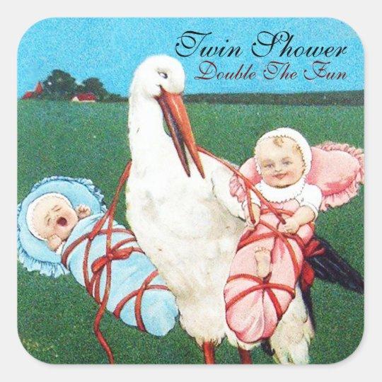 STORK TWIN BABY SHOWER SQUARE STICKER