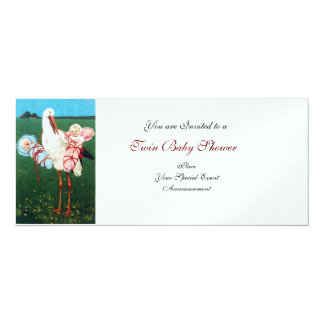STORK TWIN BABY SHOWER  White Pearl Metallic Paper Card
