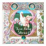 STORK TWIN BOY - GIRL BABY SHOWER,FLORAL GEMSTONES CARD