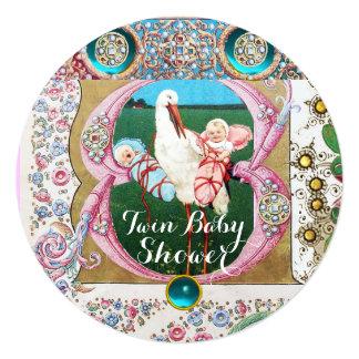 STORK TWIN BOY - GIRL BABY SHOWER,FLORAL GEMSTONES 5.25X5.25 SQUARE PAPER INVITATION CARD